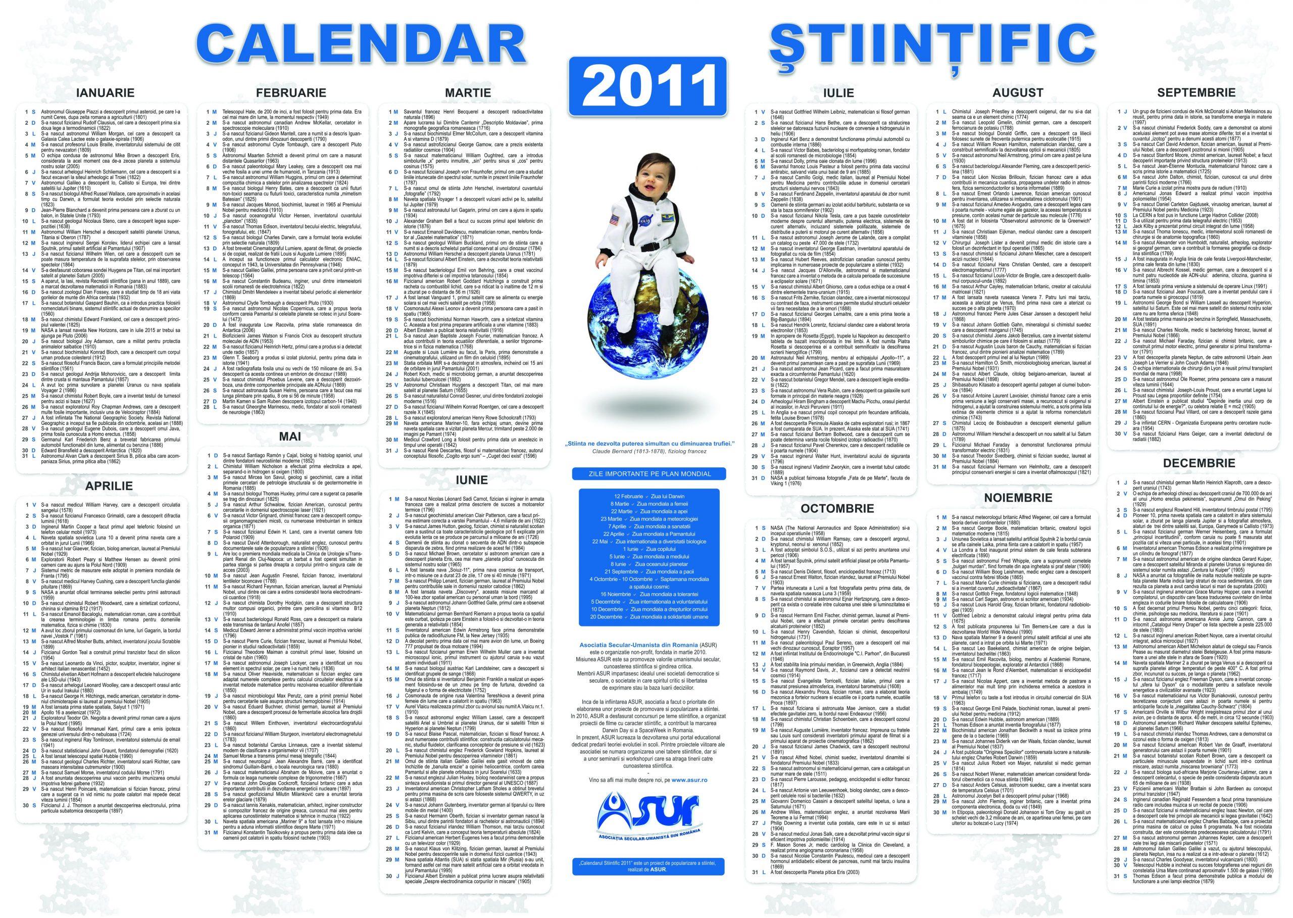 calendar stiintific 2011 prima editie