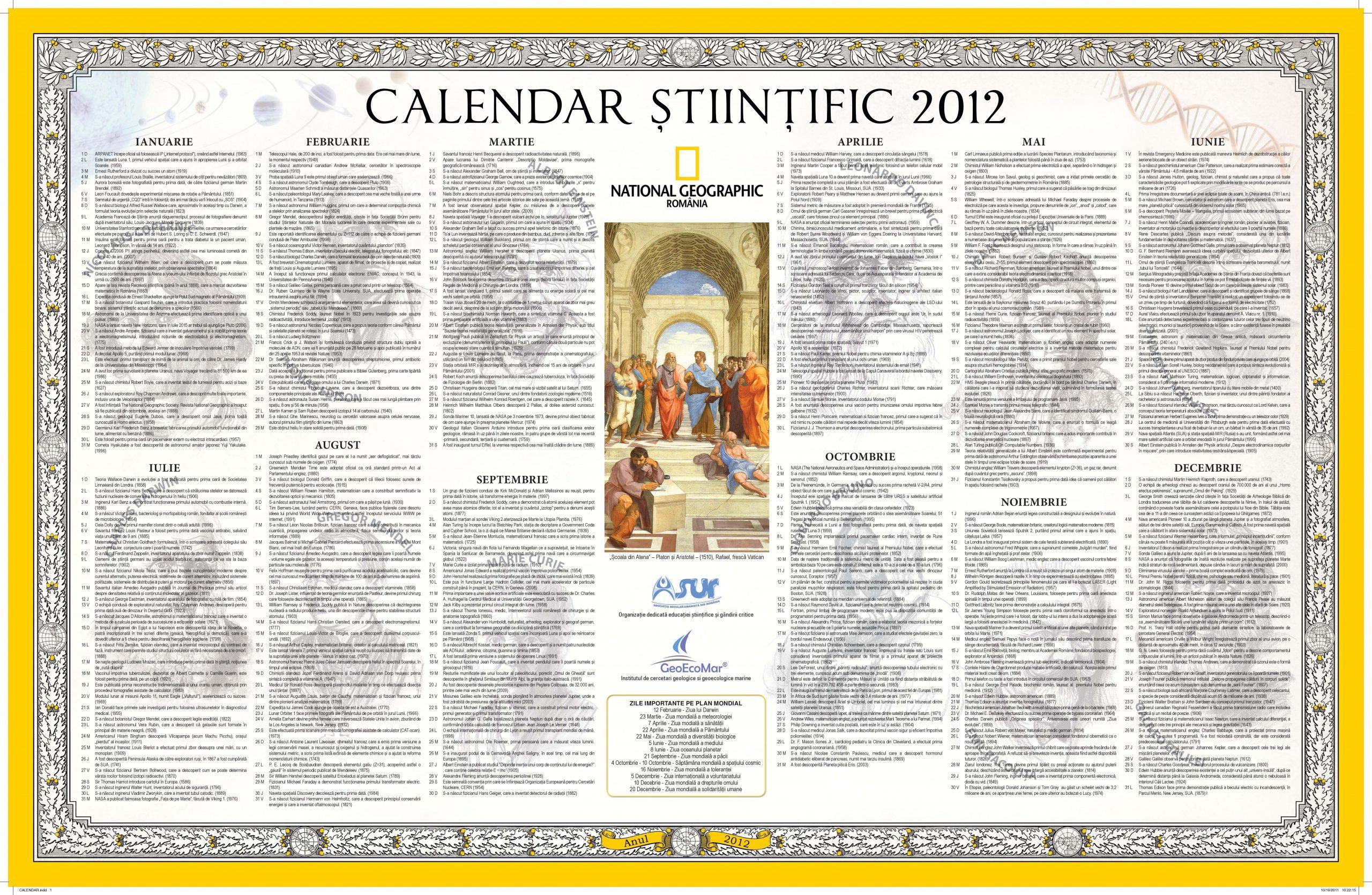calendar stiintific 2012